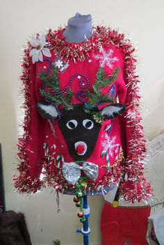 Items similar to Custom Reindeer Tacky Ugly Christmas Sweater with Wild Garland, Light up Bow Tie and snowflake Long Sleeve Mens Womens Made to order on Etsy - Reindeer Sweater, Ugly Xmas Sweater, Light Up Christmas Sweater, Christmas Sweaters, Christmas Clothes, Christmas Outfits, Tacky Christmas, Christmas Costumes, Christmas Time
