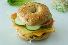 Veggie & Cheese Bagel, all sorts of yummy veggies, use a whole wheat bagel