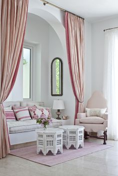 salon marocain... I would do this in jewel tones, but other than the pink this would be good inspiration for the retreat