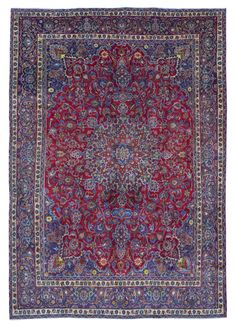 Semi-Antique Persian Mashad Oriental Rug 9'3X13'2
