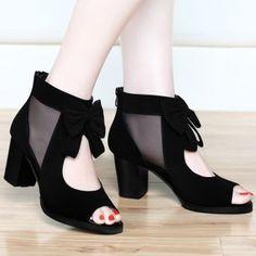 Nuevos zapatos de las sandalias de la manera Gasa Arco con gruesa boca de los pescados Zapatos Black