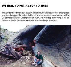 steven spielberg next to a dead dragon...  #steven #spielberg #dead #dragon #hunting #killing #fake
