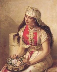 Jean-François Portaels (Belgian painter, 1818-1895) An Oriental Flower Seller