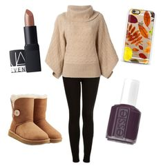 """""""Sweater weather"""" by lydiaviolet ❤ liked on Polyvore featuring moda, Topshop, UGG Australia, Essie, NARS Cosmetics, Polo Ralph Lauren e Casetify"""