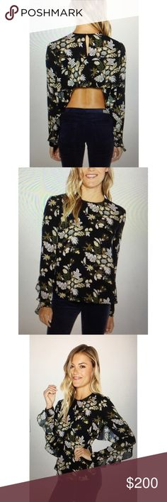 A.L.C Cooper top - Lon sleeve floral blouse A.L.C. - Cooper Top - long sleeve floral blouse with a high cropped back hemline. Full length sleeves and a small keyhole at the back of the neck A.L.C. Tops Blouses