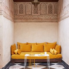 El Fenn hotel, Marrakesh Morocco by architect Amine Kabbaj. Decor, Interior, Living Room Decor, Home Decor, Moroccan Decor Living Room, Lounge Areas, Yellow Sofa, Earthy Home Decor, Interior Design