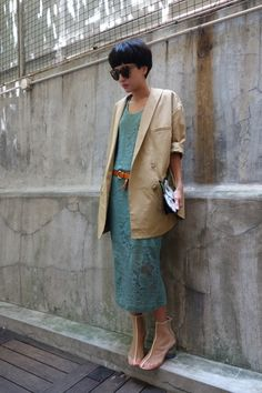 lace dress, beige jacket, tan belt - Dressmonster; floral clutch, mesh boots, Karen Walker sunglasses