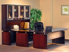 Mayline Napoli NT31 U Shaped Modern Executive Office Desk Suite