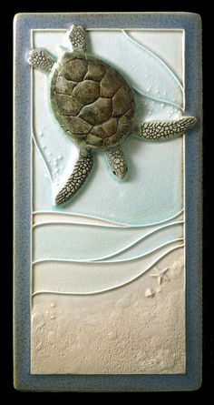 Ceramic sculpted tile Mother to be 4x8 by MedicineBluffStudio, $68.00 The sea turtle mothers to be wait off shore until night to come up on the beach to lay their eggs. I took some artistic license with this one and made her a lot closer to the shore than she would actually be.  But she's a future mom with a goal. You don't want to get in her way.