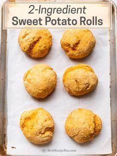 2-Ingredient Sweet Potato Rolls: No Yeast Potato Rolls Recipe, Sweet Potato Rolls, Sweet Potato Dessert, Sweet Potato Bread, Sweet Potato Biscuits, Sweet Potato Recipes, Sweet Potato Patties, No Yeast Bread, Yeast Bread Recipes