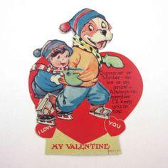 Vintage-Mechanical-Valentine-Card-Boy-Dog-Ice-Skating-Charles-Twelvetrees