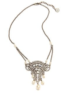 Wedding jewelry  BEN-AMUN Crystal and Faux Pearl Pendant Necklace