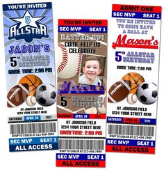 Sports Birthday Party Ticket Style Invitations Favors MVP Digital Delivery - U Print. $14.99, via Etsy.