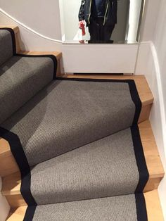 Client: Private Residence In North London Brief: To supply & install grey stair carpet with black border to stairs Grey Stair Carpet, Carpet Stairs, Stairway Lighting, North London, Carpet Runner, Stairways, House Ideas, Flooring, Group