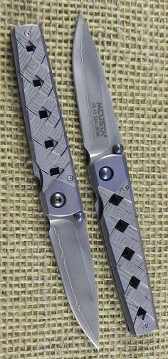 Mcusta Yoroi EDC Folding Pocket Knife Blade with San Mai Blade, Damascus Handle, and Woven Nishijin Pouch
