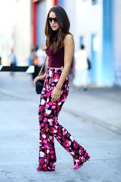95 Killer Outfits To Copy from Fall 2015 New York Fashion Week - mod bright printed trousers
