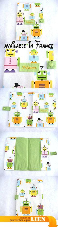 Protège Carnet Garçon Prénom Brodé Bébé Enfant Cadeau Naissance Baby Shower Robots.  #Guild Product #GUILD_BABY
