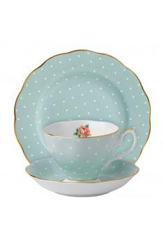 Royal Albert Polka Rose Vintage 3-Piece Tea place setting