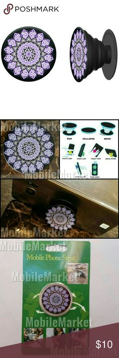 Mobile phone grip/stand purple mandala *this is an individual listing for 1 phone stand, color is according to first picture*  Pop, tilt, wrap, grip, collapse, repeat! Mobile phone stent like a pop socket (popsocket). Have a secure grip while calling, taking selfies, and texting. Use as a phone stand, portrait and landscape mode. and even to wrap your headphones around and prevent tangles and knots!! Retail packaging makes it the perfect gift! Mobile Market Accessories