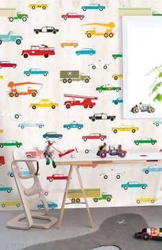Behangposter gekleurde auto's OZ 3159? De leukste Behang voor de kinderkamer bij Saartje Prum.