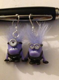 Evil minion Despicable me earrings  by ThePaintedOwls on Etsy