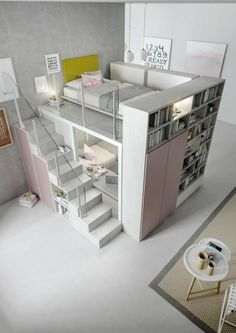 Teen Bedroom Designs, Room Design Bedroom, Small Room Bedroom, Room Ideas Bedroom, Bedroom Loft, Master Bedroom, Girls Bedroom Furniture, Dream Bedroom, Bedroom 2018