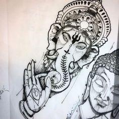 Ganesha Tattoo, Kali Tattoo, Ganesha Drawing, Tattoo Sleeve Designs, Sleeve Tattoos, Tattoo Sketches, Tattoo Drawings, Buda Tattoo, Buddha Tattoo Design