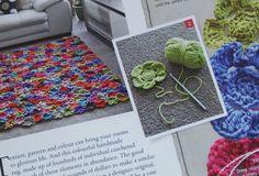 Crochet flower rug
