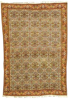 Antique Senneh Rugs: Ivory Ground Senneh Carpet Circa 1870 lot 172