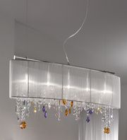The Paralume chandelier light with white silk taffeta shade with stunning coloured Swarovski crystal elements on a chrome frame. Crystal colours can be chosen to suit your decor