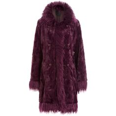Anna Sui Faux Fur Coat ($1,199) ❤ liked on Polyvore featuring outerwear, coats, anna sui, jackets, red, red coat, double-breasted coat, faux fur collar coat, purple coat and fur-lined coats