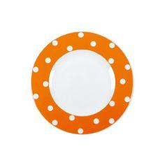 Assiette plate ronde porcelaine Freshness Dots orange - Bruno Evrard Création