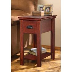 Show details for Chair Side Table, Brown Cherry