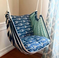 Excited to share this item from my shop: Hammock Chair Swing - Reading Chair - for Kids and Adults!This Hammock Swing Hanging Chair Premier Navy Arrows is just one of the custom, handmade pieces you'll find in our home & living shops. Hanging Swing Chair, Hammock Swing Chair, Swinging Chair, Diy Hammock, Hammocks, Diy Swing, Crochet Hammock, Rustic Furniture, Diy Furniture