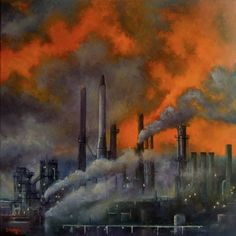 Pollution at sunset Painting Save Water Poster Drawing, Water Drawing, Pollution Environment, Environmental Pollution, Air Pollution Poster, Water Pollution, Air Pollution Project, Environment Painting, Bernardo