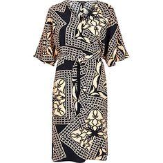 Blue print kimono sleeve dress $90.00