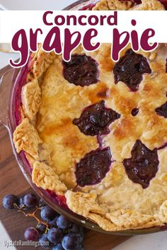 Celebrate fall with this Concord grape pie recipe. This traditional pie recipe from upstate NY consists of a flaky pie crust filled with Concord grapes. Holiday Pies, Holiday Desserts, Holiday Baking, Holiday Recipes, Easy To Make Desserts, Unique Desserts, Delicious Desserts, Dessert Recipes, Grape Pie Recipes