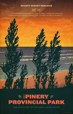 The Pinery is a beautiful park with a 10 km sand beach on the shores of the mighty Lake Huron. National Geographic magazine ranks Pinery Provincial Park as one of the top ten locations in the world for the best sunsets.