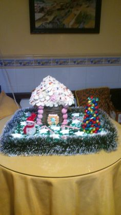 Paisaje navideño de chuches y bombones