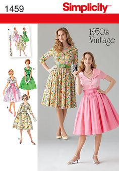 Misses' and miss petite Vintage dress with wide lapel collar can be made in three quarter sleeves, short sleeves or sleeveless. Dress can be worn casually with bow belt, or dress it up with cummerbund and overlay.