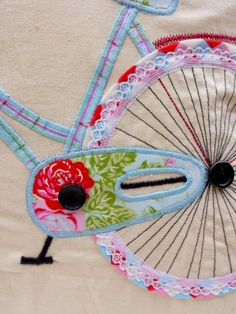 Bicycle Pillow cover Applique Cushion Handcrafted