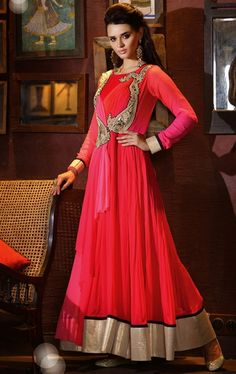 Picture of Charming Pink and Red Color Wedding Gown