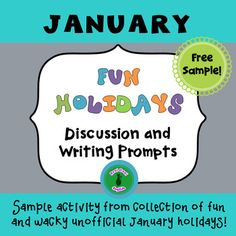 Freebie! Sample one of many fun activities for conversation and writing to celebrate unofficial January holidays. Great for ESL! Sample is for World Braille Day. See full  product which also includes:Science Fiction Trivia, Thesaurus, Peculiar People, Squirrel Appreciation, Popcorn, Compliment, Opposite, Inspire Your Heart with Art Days Also: 32 task cards for more January fun holidays.