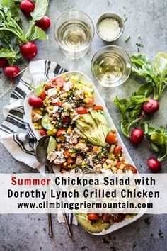 Summer Chickpea Salad with Dorothy Lynch Grilled Chicken - Climbing Grier Mountain Best Cocktail Recipes, Best Salad Recipes, Delicious Dinner Recipes, Best Dessert Recipes, Fun Desserts, Boneless Skinless Chicken Thighs, Summer Snacks, Big Meals