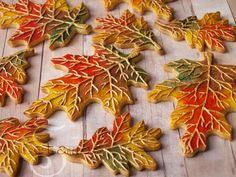 Learn how to make beautiful fall leaves cookies in this tutorial by SweetAmbs.