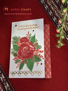 Christmas Rose bouquet can star for many different occasions. This time it's for a Get Well Card.