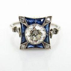 Art Deco 0 93ct Old European Cut Diamond 0 60ct Sapphire Platinum Ring 7 5