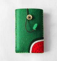 Felt Phone Case, sleeve for iPhone, iPhone4, iPhone 4s, watermelon mobile phone case, green phone cover, mobile accessory, gift idea, OOAK