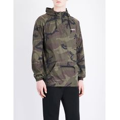OBEY Overhead camo-print shell jacket ($91) ❤ liked on Polyvore featuring men's fashion, men's clothing, men's outerwear, men's jackets, mens zip jacket, mens camo rain jacket, mens camo jacket, mens shell jacket and mens camouflage jacket