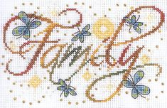 Family - cross stitch kit by Design Works - A pretty little sampler with the word FAMILY with swirls, stars and butterflies. Cross Stitch Family, Cross Stitch Letters, Cross Stitch Heart, Cross Stitch Kits, Cross Stitch Designs, Cross Stitching, Cross Stitch Embroidery, Embroidery Patterns, Stitch Patterns